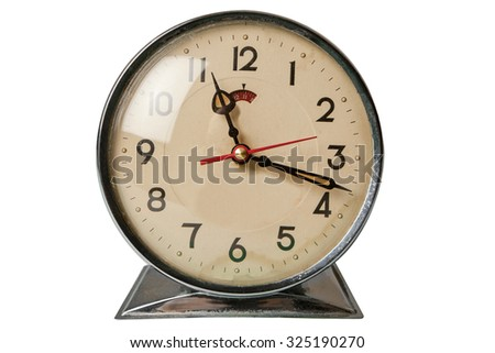Retro clock isolated on white with clipping path