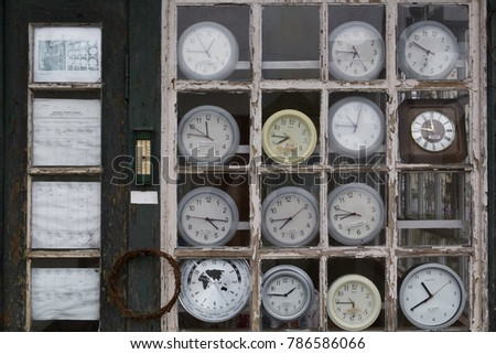 Retro clocks behind old window showing stock photo 786586066 retro clocks behind an old window showing different timezones sciox Image collections