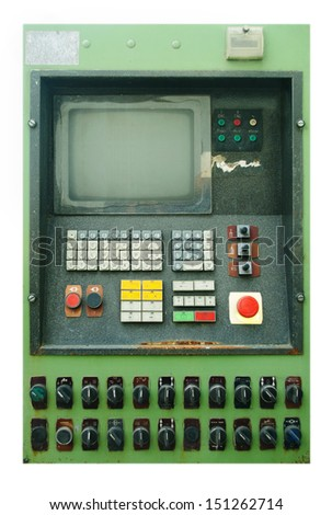 Retro cnc control panel with monitor and keyboard - stock photo