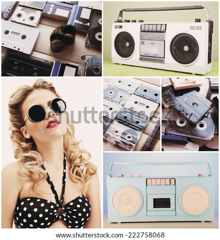 Retro collage - stock photo