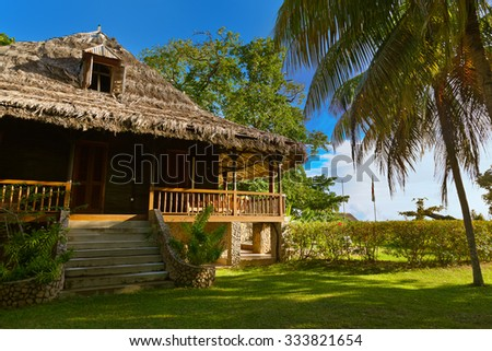 Retro colonial house at Seychelles - travel background - stock photo