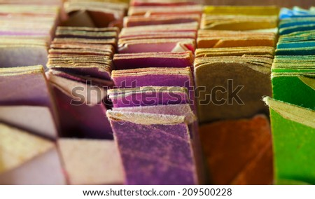 Retro colors of an vintage color samples, close up. - stock photo