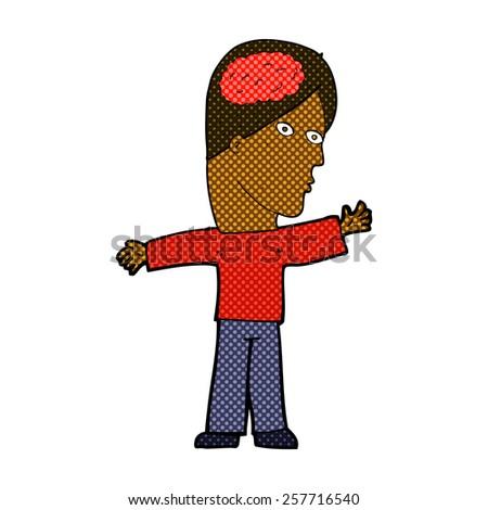 retro comic book style cartoon man with brain - stock photo