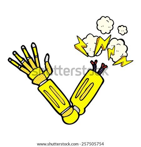 retro comic book style cartoon robot arm - stock photo