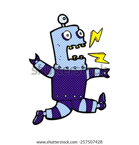 retro comic book style cartoon terrified robot - stock photo