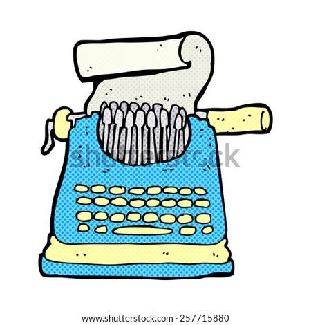 retro comic book style cartoon typewriter - stock photo