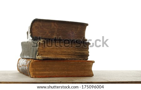 Retro composition with books on wooden table   - stock photo