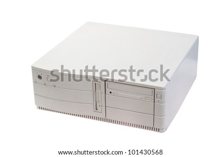 retro computer case on white background