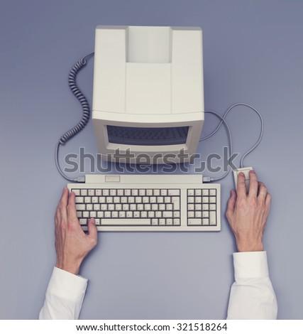 Retro computer - top view - stock photo