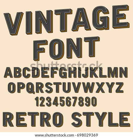 Retro 3d Alphabet And Number Sign Old Typography Style Cartoon Font Letters