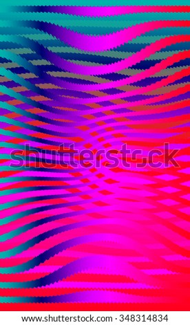 Retro 3D pink blue waves.Abstract pattern. Bright colored background with realistic shadow and deep dimensional effect. - stock photo