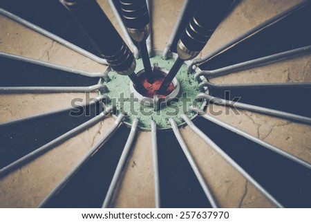 Retro Dart Board with Vintage Instagram Style Filter - stock photo