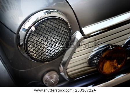 Retro design classic of vintage car head light, soft and blur concept - stock photo