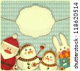 Retro design of Christmas and New Year's card. Santa Claus, snowman and hare on a Vintage background. JPEG version - stock photo