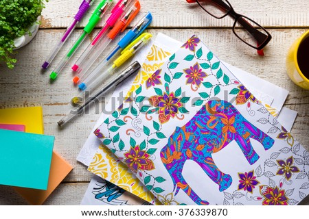 Retro Desk With Adult Coloring Books Stress Relieving Trend Mindfulness Concept