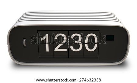 retro digital clock isolated on white background. High resolution 3d - stock photo