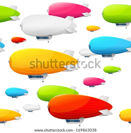 Retro dirigible seamless pattern.  illustration - stock photo