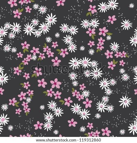 Retro Ditsy Floral Seamless - Black - stock photo