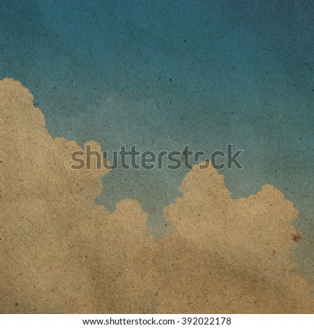 retro dramatic sky and clouds on brown tan paper backdrop:vintage filter art background concept.natural wallpaper square picture.old paper with nature sky effect.image for banner,template,postcard - stock photo