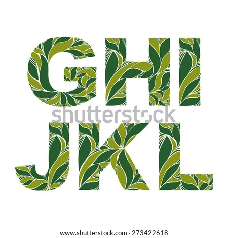 Retro drop caps with herbal spring seasonal ornament. Beautiful font with floral pattern, G, H, I, J, K, L. - stock photo