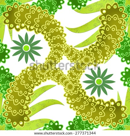 Retro elements background abstract geometric seamless green yellow colors pattern - stock photo