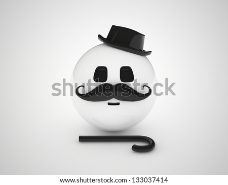 Retro emoticon isolated on white. 3D render. - stock photo