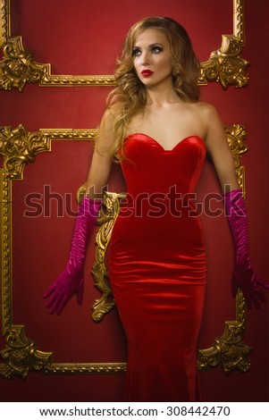Retro female singer red dress  - stock photo