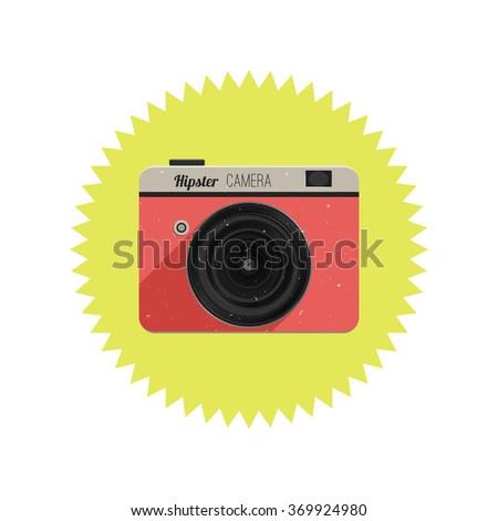 Retro film camera in flat design. Illustration of hipster camera. Raster version. - stock photo