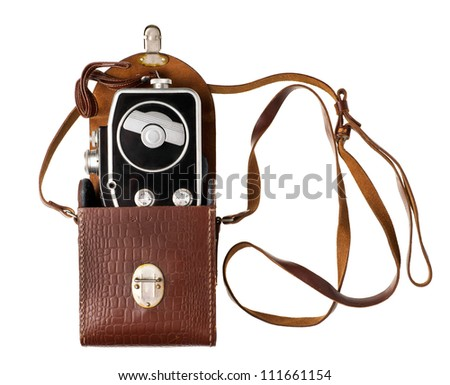 Retro film camera isolated on white - stock photo