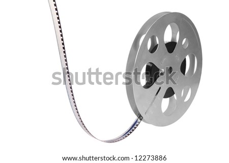 Retro film reel isolated on white background