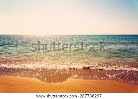 Retro Filter Of Sea And Tropical Beach In Summer Landscape