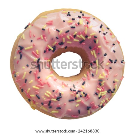 Retro Filtered Isolated Pink Donut With Sprinkles - stock photo