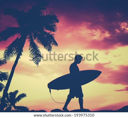 Retro Filtered Silhouette Of A Surfer Carrying His Surfboard WIth Palm Tree - stock photo