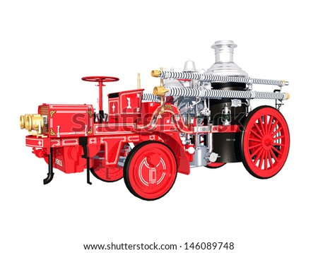 Retro Fire Engine Computer generated 3D illustration