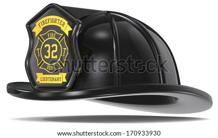 Retro Firefighter Helmet. Firefighter Helmet. Retro Black with badge. Isolated. - stock photo