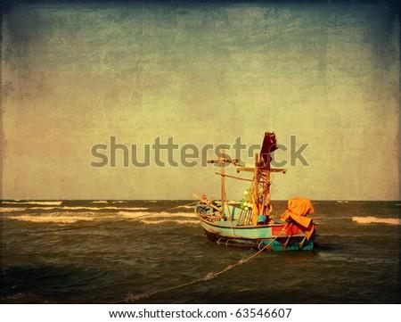 retro fishing boat - stock photo
