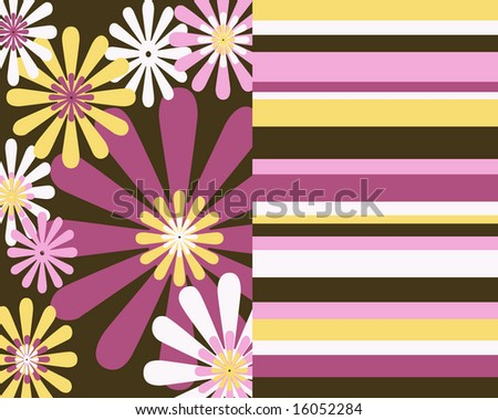 Retro flowers and stripes collage