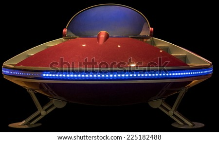retro flying saucer spaceship isolated - stock photo