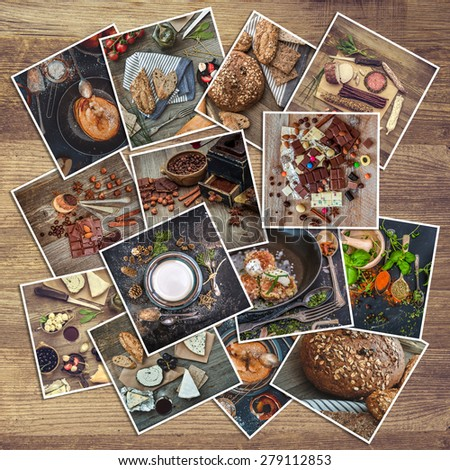 retro food photos on a wooden background