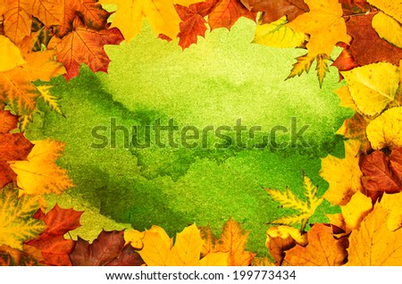 Retro frame from vivid colorful autumn leaves, natural seasonal background