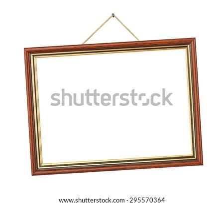 Retro frame on rope isolated on white background - stock photo