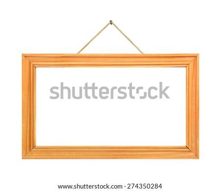Retro frame on string isolated on white background - stock photo