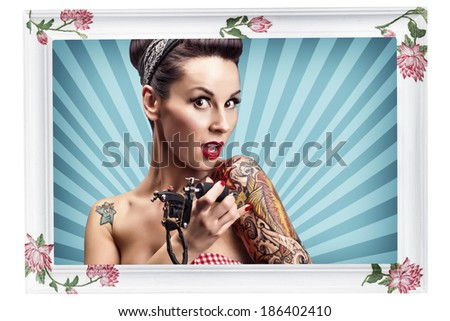 Retro Frame with Retro Image of Sexy Pin Up Girl - stock photo