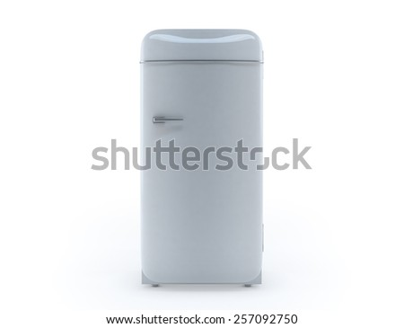 Retro fridge 3d render isolated on white background.  - stock photo