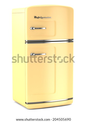 Retro fridge isolated on white bacground - stock photo