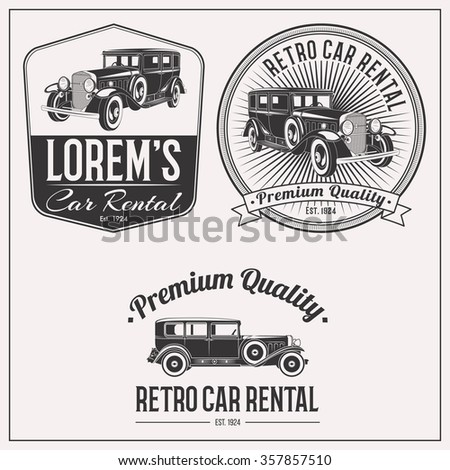 Retro gangster car rental isolated logo set emblems, badges and design elements on white background