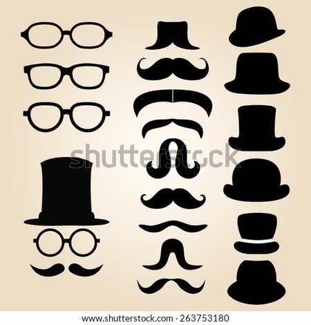 Retro gentleman's set consists of a hat, glasses and mustache - stock photo