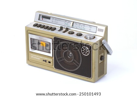 retro ghetto blaster isolated on white background.
