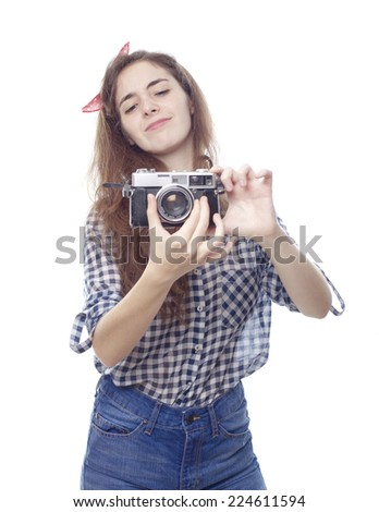 retro girl with a vintage camera
