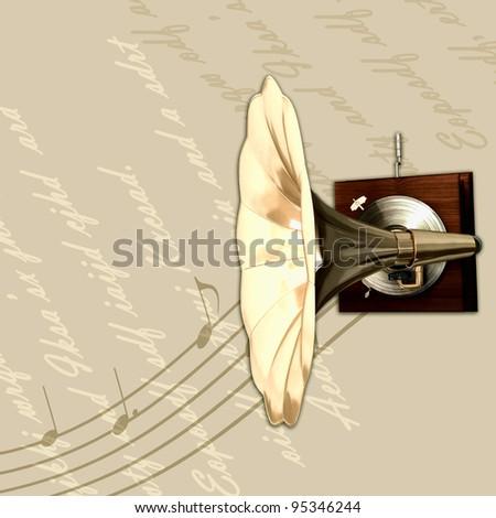 Retro gold gramophone background - stock photo
